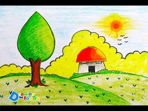 How To Draw Beautiful Scenery For Kids Step By Step Very Easy Youtube