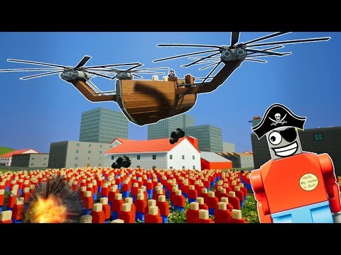 LEGO FLYING PIRATE SHIP vs BOB ARMY! - Brick Rigs Gameplay Challenge & Creations
