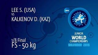 1/8 FS - 50 Kg: S. LEE (USA) Df. D. KALKENOV (KAZ) By TF, 14-2