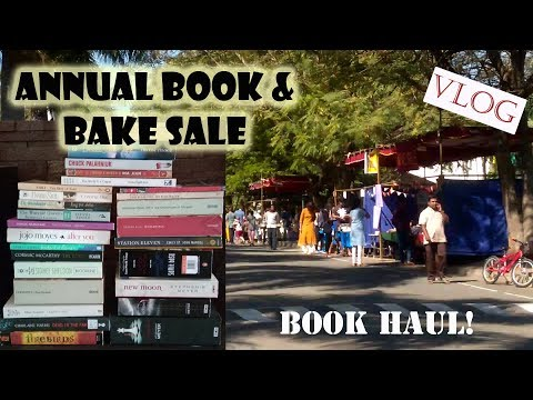 Annual Book & Bake Sale Vlog + Huge Book Haul