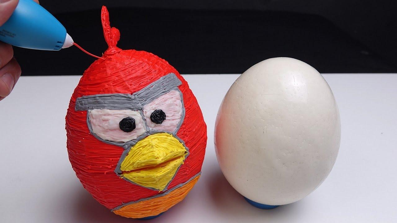 3D Ручка - РИСУЮ ЧЕХОЛ для ЯЙЦА СТРАУСА Angry Birds RED - 3d pen !