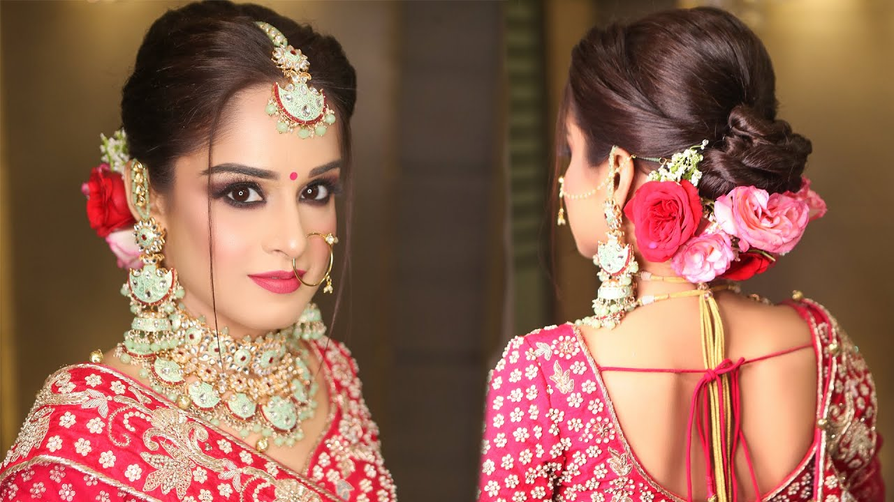 Beautiful Bridal Hairstyle   Bun With Flowers   BUN Hairstyle Tutorial   Krushhh By Konica