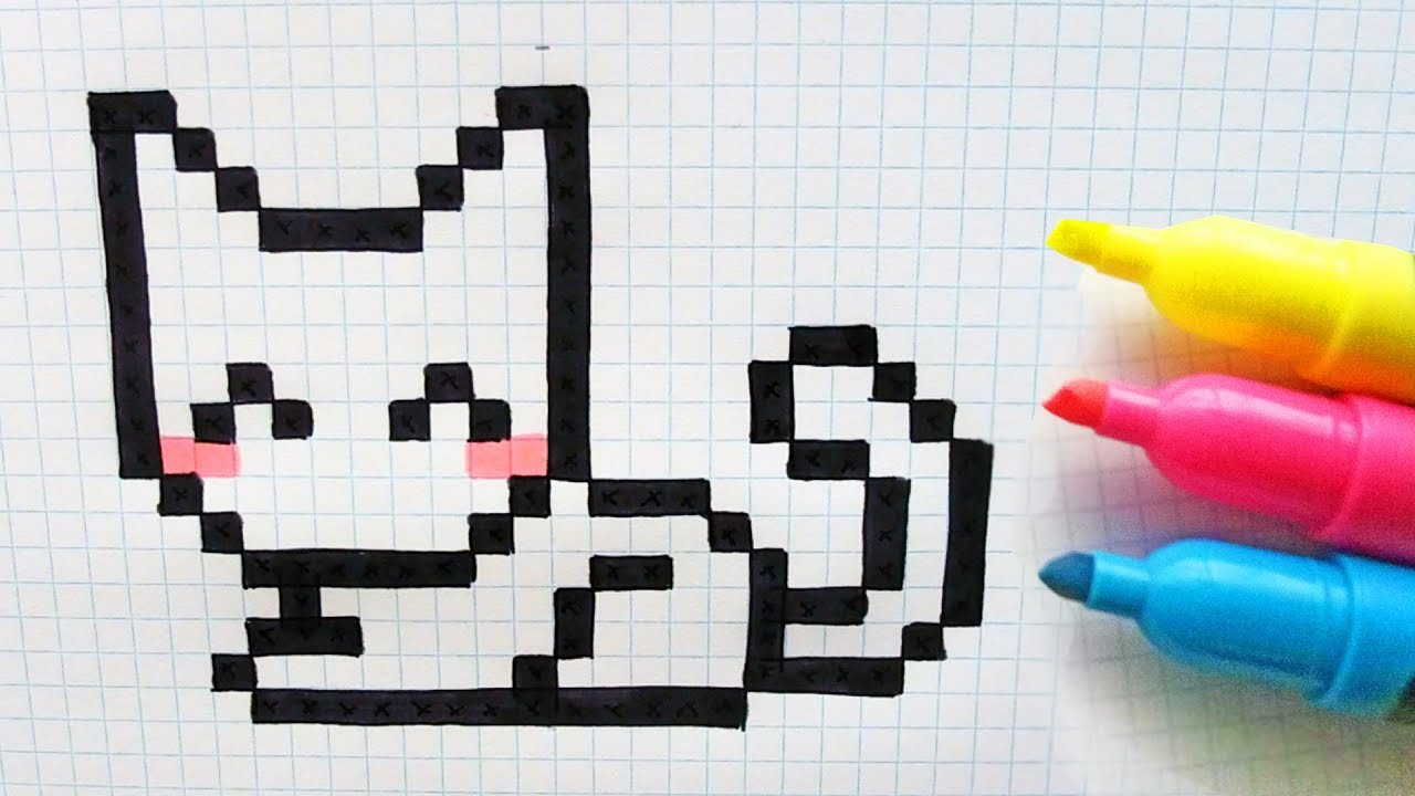 Handmade Pixel Art How To Draw Cute Cat Pixelart Youtube