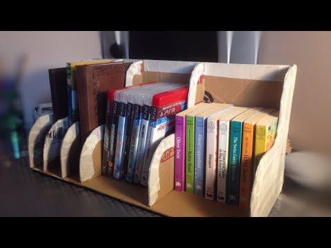 A cardboard book shelf