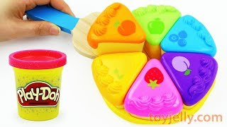 How to Make Play Doh Color Fruits Cake Velcro Cutting Baby Toy with Microwave Oven Playset For Kids