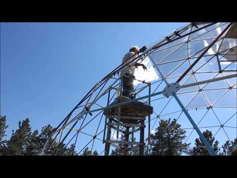 Lexan installation on Geothermal Geodesic Dome