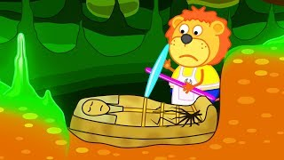 Download Lion Family Mummy Sarcophagus in Underground Cartoon for Kids Mp3 and Videos