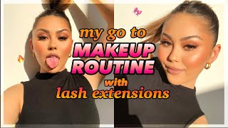 my go to maĸeup routine with lash extensions!! *no fallout*