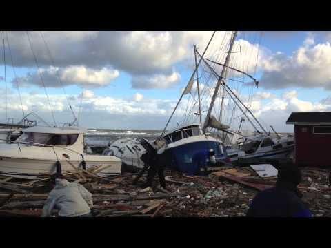 Gilleleje havn efter stormen Bodil, december 2013
