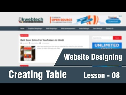 How To Create HTML Tables - Web Designing Tutorials In Hindi 08