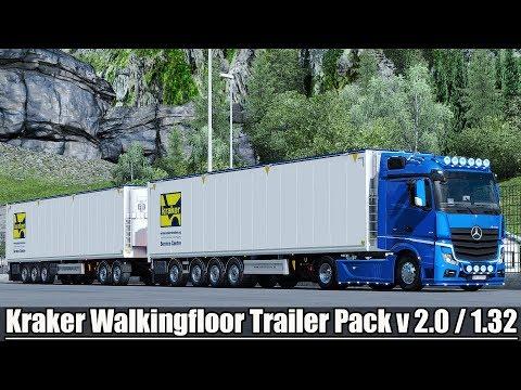 ✅ [ETS2 1.32] Kraker Walkingfloor Trailer Pack v 2.0 by Kast