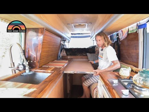 He Downsized His Life Into A Custom DIY Sprinter Camper Van - Tons Of Clever Space Saving Hacks