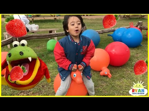 Kids Strawberry Picking at the Farm! Family Fun Kids Play Area with Giant Slides Children Activities