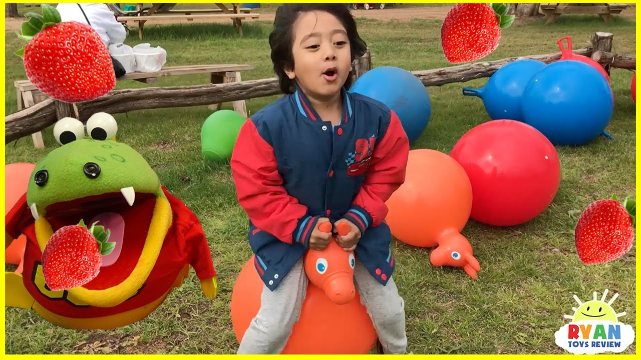 Kids Strawberry Picking At The Farm Family Fun Kids Play Area With