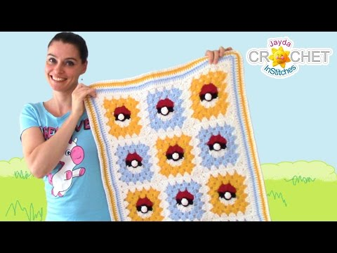 Pokemon Granny Square Blanket Crochet Pattern & Tutorial - YouTube | 360x480
