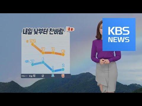 [날씨] 내일 찬바람, 미세 먼지 농도 '나쁨' / KBS뉴스(News)