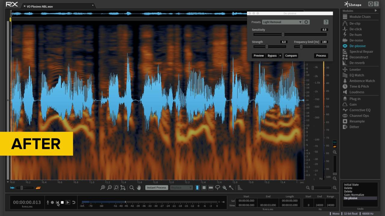 De-plosive in iZotope RX 5 Advanced Audio Editor | Before and After Audio  Example
