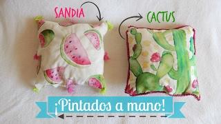 ¡ALMOHADONES PINTADOS A MANO ♥! - MononoDIY!
