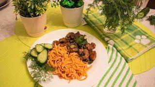 GVK : Спагетти в томатном соусе. Мясо с баклажанами. Томатные макароны. Свинина с овощами.