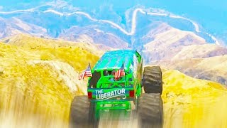 GTA 5 Funny Moments - Biggest Monster Truck Jump- (GTA V Online Gameplay)