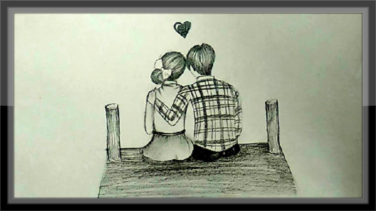 Pencil Drawings Of Anime Couples In Love - On Log Wall