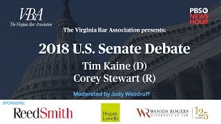 WATCH LIVE: Tim Kaine and Corey Stewart meet for first U.S. Senate debate in Virginia thumbnail