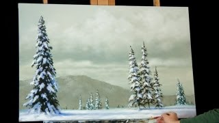 Time Lapse Winter Acrylic Painting Heavy Snow Covered Trees by Tim Gagnon