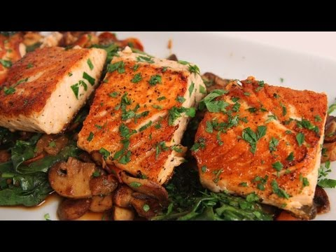 Seared Salmon with Sauteed Spinach and Mushrooms Laura Vitale Laura in the Kitchen Ep 323