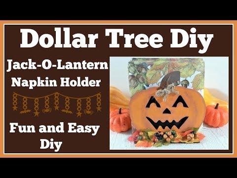 Dollar Tree Diy Jack-O-Lantern 🎃 Napkin Holder Easy Diy Project