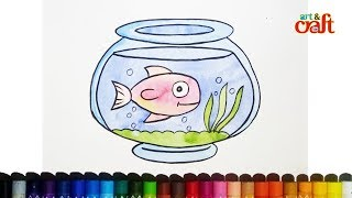 How to draw fish pot # step by step