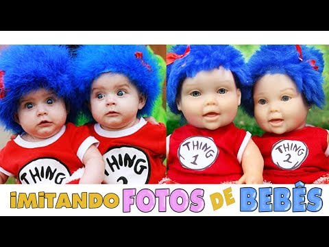 IMITANDO FOTOS DE BEBÊS COM MEGIE E MIA - Lilly Doll