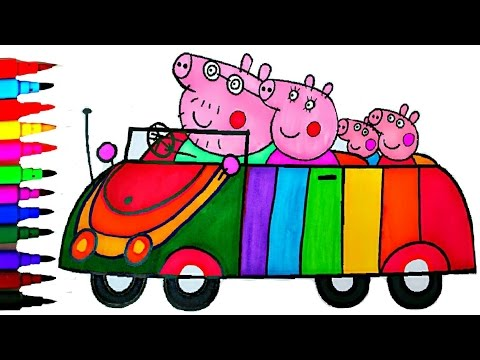 Thumbnail: PEPPA PIG Coloring Book Pages Rainbow Car Kids Fun Art Learning Activities Kids Balloons Toys