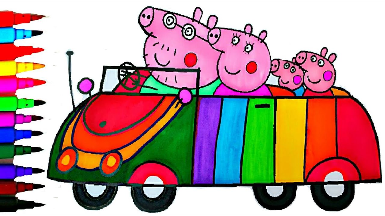 PEPPA PIG Coloring Book Pages Rainbow Car Kids Fun Art Learning Activities Balloons Toys