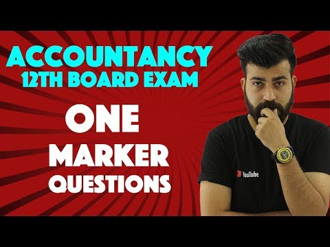 One Mark Questions Complete !!!! Accountancy Class XII Boards #teamcommercebaba