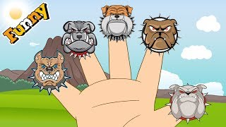 Funny Animals Cartoons For Children - Hand and Bulldog - Dogs Cartoons Finger Family