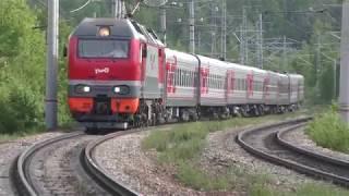 ЭП2К-291 с Пассажирским Поездом локомотив железная дорога ржд