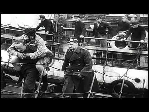 Bismarck, a German battleship is sunk by British fleet, off Saint Nazaire, France...HD Stock Footage