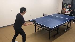 卓球教室先生の強烈スマッシュをとる特訓!仙台の卓球教室カルスポ倶楽部山田先生との対決!