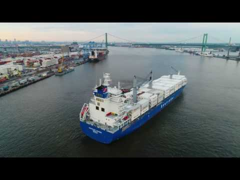 Aerial View of Cargo Ship Entering Port of Philadelphia and Parking
