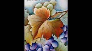 Como pintar galho de uvas com folhas. Projeto gratuito – A parreira. Aula 1 Cristina Ribeiro