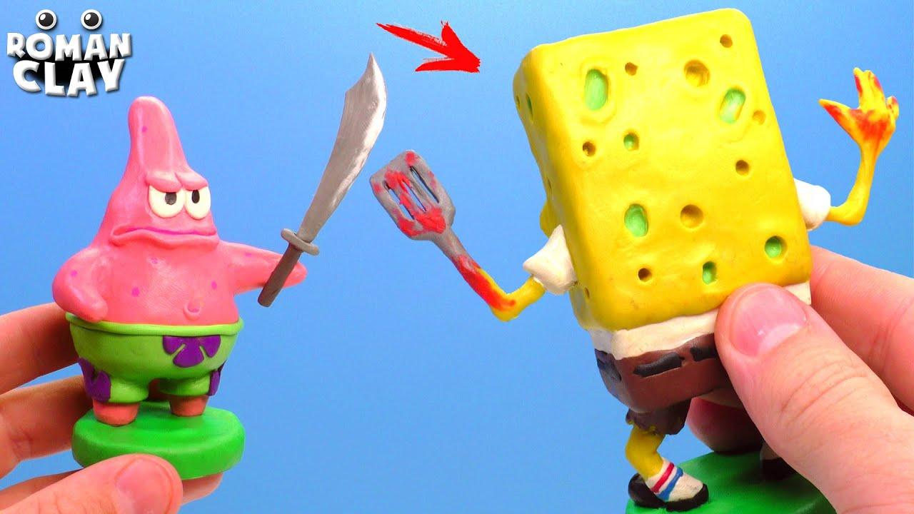 Evil SpongeBob Exe vs Patrick Star with Clay | Roman Clay Tutorial