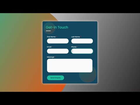 How To Make Contact Form Using HTML And CSS || Awesome Contact Us Form