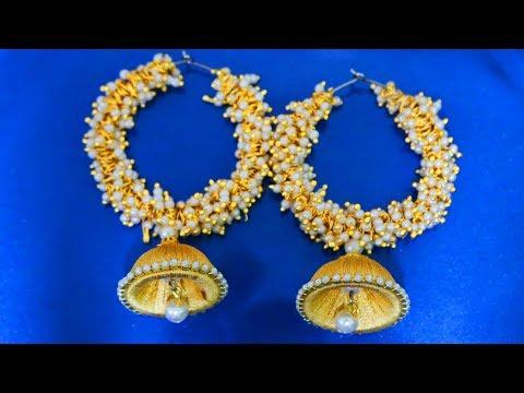 a41516abf silk thread earrings making, silk thread earrings designs, silk thread  earrings new model, silk thread earrings jhumka,