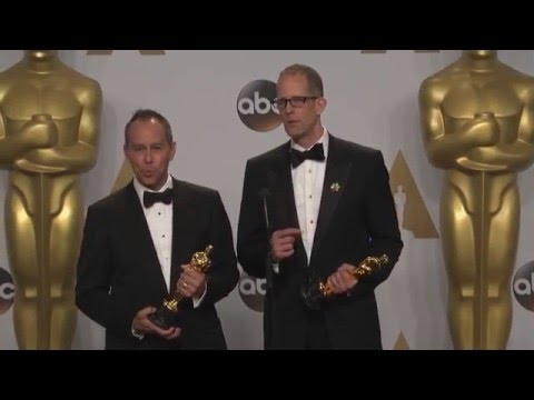 Inside Out:  Jonas Rivera & Pete Docter (Best Animated Film) Oscars Backstage Interview(2016)