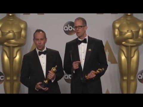 Inside Out:  Jonas Rivera & Pete Docter Best Animated Film Oscars Backstage 2016