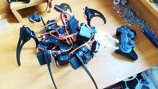 КАК СДЕЛАТЬ РОБОТА-ПАУКА НА РАДИОУПРАВЛЕНИИ(Показываю как сделать робота паука на радиоуправлении. Для этого нам нужно: 1. Рама http://goo.gl/ddOLRL 2. Сервопривод..., 2016-09-22T11:53:28.000Z)