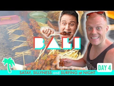 BEST STREET FOOD in BALI (Worst Mark Wiens Impression) 🌴🔥+ SURFING at NiGhT KUTA BEACH [Day 4]