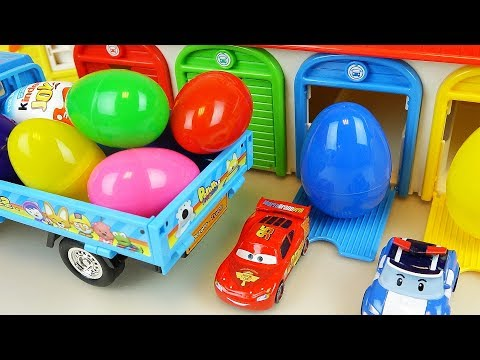Thumbnail: Truck car toy Surprise eggs and Cars and Robocar poli toys play