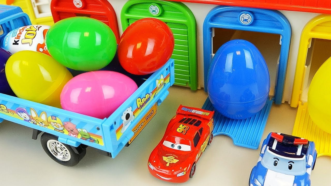 Toy Cars For Toys : Truck car toy surprise eggs and cars robocar poli toys