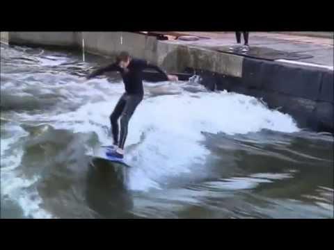 Czech Rep Surfing: Surfers build artificial wave on the River Elbe near capital Prague